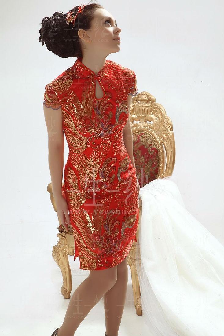 红色刺绣新娘晚装旗袍礼服 浓浓中国风
