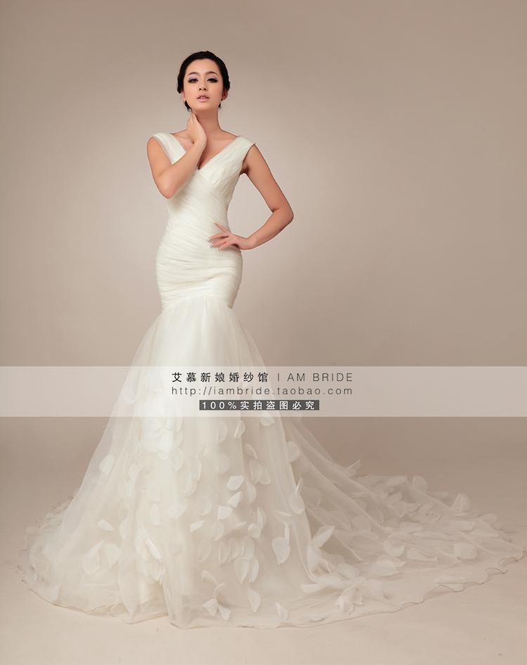 外贸玫瑰花瓣欧式包一字肩收腰鱼尾大拖尾新娘婚纱