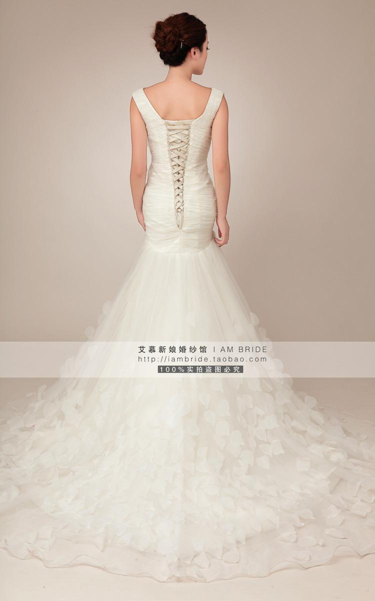 外贸玫瑰花瓣欧式包一字肩收腰鱼尾大拖尾新娘婚纱礼服